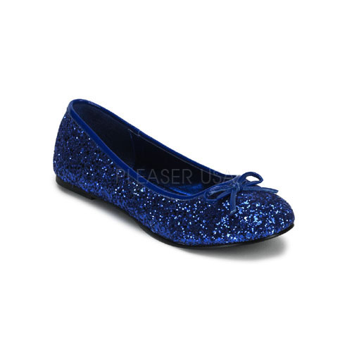 Navy Blue Sparkly Flat Shoes